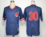 Mitchell And Ness Cleveland Indians #30 Joe Carter Blue Throwback Stitched MLB Jersey