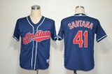 Mitchell And Ness Cleveland Indians #41 Carlos Santana Blue Stitched Throwback MLB Jersey