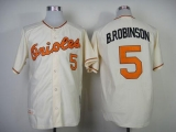Mitchell And Ness 1989 Baltimore Orioles #5 Brooks Robinson Cream Throwback Stitched MLB Jersey