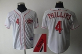 MLB Cincinnati Reds #4 Brandon Phillips Stitched White Autographed Jersey