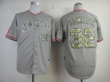 Los Angeles Angels of Anaheim #32 Josh Hamilton Grey USMC Cool Base Stitched MLB Jersey