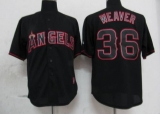 Los Angeles Angels of Anaheim #36 Jered Weaver Black Fashion Stitched MLB Jersey