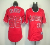 Los Angeles Angels of Anaheim #36 Weaver Jered Red Cool Base Stitched MLB Jersey