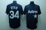 Mitchell and Ness Houston Astros #34 Nolan Ryan Stitched Blue Throwback MLB Jersey