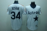 Mitchell and Ness Houston Astros #34 Nolan Ryan Stitched White Throwback MLB Jersey