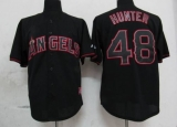 Los Angeles Angels of Anaheim #48 Torii Hunter Black Fashion Stitched MLB Jersey