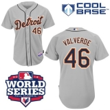 Detroit Tigers #46 Jose Valverde Grey Cool Base w 2012 World Series Patch Stitched MLB Jersey