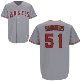 Los Angeles Angels of Anaheim #51 Joe Saunders Stitched Grey MLB Jersey