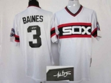 Mitchell and Ness Autographed MLB Chicago White Sox #3 Harold Baines Stitched White Throwback Jersey