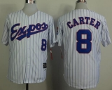 Mitchell And Ness 1982 Expos #8 Gary Carter White Black Strip Throwback Stitched MLB Jersey