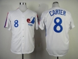 Mitchell And Ness 1982 Expos #8 Gary Carter White Throwback Stitched MLB Jersey