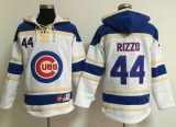 Chicago Cubs #44 Anthony Rizzo White Sawyer Hooded Sweatshirt MLB Hoodie
