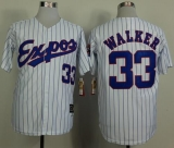 Mitchell And Ness 1982 Expos #33 Larry Walker White Black Strip  Throwback Stitched MLB Jersey