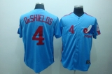 Mitchell and Ness Expos #4 Delino Deshields Blue Stitched Throwback MLB Jersey