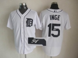 MLB Detroit Tigers #15 Brandon Inge Stitched White Autographed Jersey