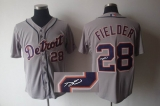 MLB Detroit Tigers #28 Prince Fielder Stitched Grey Autographed Jersey