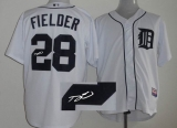 MLB Detroit Tigers #28 Prince Fielder Stitched White Cool Base Autographed Jersey