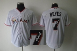 MLB Miami Marlins #7 Jose Reyes Stitched White Cool Base Autographed Jersey