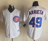 Chicago Cubs #49 Jake Arrieta White Strip New Cool Base Stitched MLB Jersey
