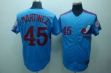 Mitchell and Ness Expos #45 Pedro Martinez Blue Stitched Throwback MLB Jersey