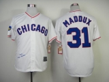 Mitchell And Ness 1988 Chicago Cubs #31 Greg Maddux White Throwback Stitched MLB Jersey