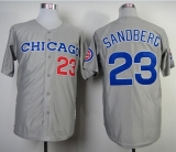 Mitchell and Ness 1990 Chicago Cubs #23 Ryne Sandberg Grey Throwback Stitched MLB Jersey