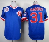 Mitchell and Ness Chicago Cubs #31 Greg Maddux Blue Throwback Stitched MLB Jersey