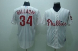 Philadelphia Phillies #34 Roy Halladay Stitched White Red Strip MLB Jersey