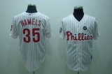 Philadelphia Phillies #35 Colbert Hamels Stitched White Red Strip MLB Jersey
