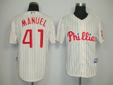 Philadelphia Phillies #41 Charley Manuel White With Red Strip Stitched MLB Jersey