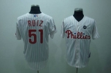 Philadelphia Phillies #51 Carlos Ruiz Stitched White Red Strip MLB Jersey