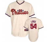 Philadelphia Phillies #54 Brad Lidge Stitched Cream MLB Jersey