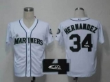 MLB Seattle Mariners #34 Felix Hernandez Stitched White Throwback M&N Autographed Jersey