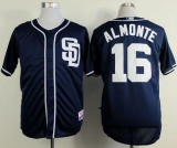 San Diego Padres #16 Abraham Almonte Dark Blue Alternate 1 Cool Base Stitched MLB Jersey