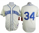 Seattle Mariners #34 Felix Hernandez Cream Alternate Cool Base Stitched MLB Jersey