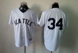 Seattle Mariners #34 Felix Hernandez White 1909 Turn Back The Clock Stitched MLB Jersey