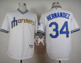 Seattle Mariners #34 Felix Hernandez White 1979 Turn Back The Clock Stitched MLB Jersey