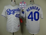Kansas City Royals #40 Kelvin Herrera White Cool Base W 2015 World Series Patch Stitched MLB Jersey