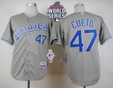 Kansas City Royals #47 Johnny Cueto Grey Cool Base W 2015 World Series Patch Stitched MLB Jersey