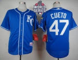 Kansas City Royals #47 Johnny Cueto Light Blue Alternate 2 Cool Base W 2015 World Series Patch Stitched MLB Jersey