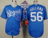 Kansas City Royals #56 Greg Holland Light Blue Alternate 1 Cool Base W 2015 World Series Patch Stitched MLB Jersey