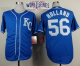 Kansas City Royals #56 Greg Holland Light Blue Alternate 2 Cool Base W 2014 World Series Patch Stitched MLB Jersey