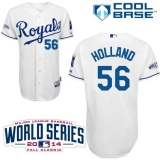 Kansas City Royals #56 Greg Holland White Cool Base W 2014 World Series Patch Stitched MLB Jersey