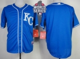 Kansas City Royals Blank Blue Alternate 2 Cool Base W 2015 World Series Patch Stitched MLB Jersey