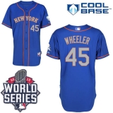 New York Mets #45 Zack Wheeler Blue Grey NO Alternate Road Cool Base W 2015 World Series Patch Stitched MLB Jersey