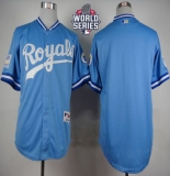 Kansas City Royals Blank Light Blue 1985 Turn Back The Clock W 2015 World Series Patch Stitched MLB Jersey