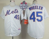 New York Mets #45 Zack Wheeler White Blue Strip  Home Cool Base W 2015 World Series Patch Stitched MLB Jersey