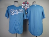 Kansas City Royals Blank Light Blue Cool Base W 2015 World Series Patch Stitched MLB Jersey