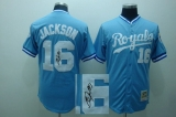 Mitchell and Ness Autographed MLB Kansas City Royals #16 Bo Jackson Light Blue Stitched Thrwoback Jersey
