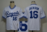 Mitchell and Ness Autographed MLB Kansas City Royals #16 Bo Jackson White Stitched Thrwoback Jersey